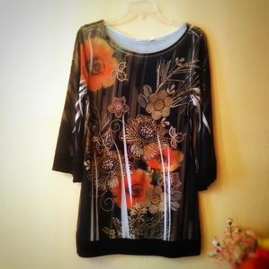 Cato Embellished Wide Sleeves Floral Tunic Dress
